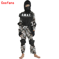 COSFANS New Carnival Party Fancy Dress Child SWAT Team Halloween Costume For Kids Camouflage Arm Jumpsuit Outdoor Game Cosplay