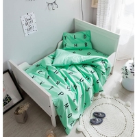 3Pcs Baby bed Set Cotton Colcha Green Pink Letters Pattern Newborns Cot Crib Bedding Sets Duvet Cover+Pillowcase+Flat Sheet