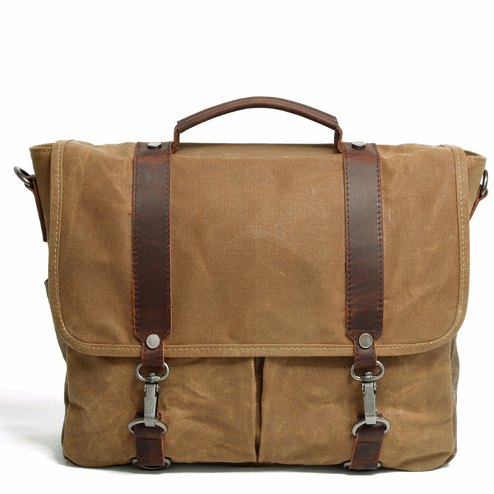 где купить M107 New Men Vintage Canvas Messenger Bag Crazy Horse Leather Soft Man Travel Bags Retro School Bag Hasp Military Style Handbag дешево