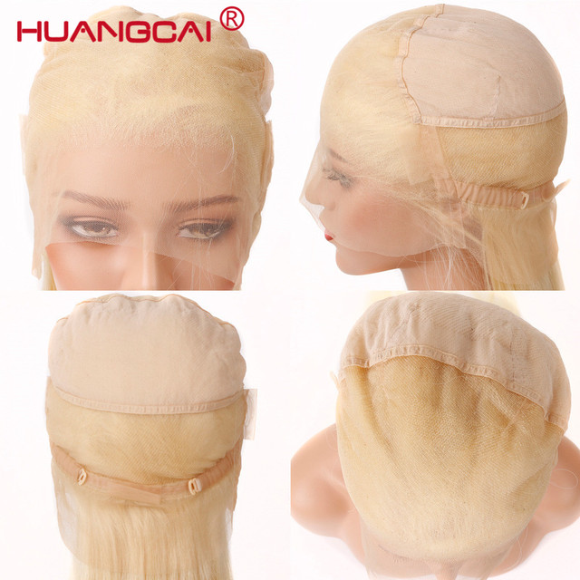 #613 Blonde Full Lace Wig Pre Plucked With Baby Hair Straight Brazilian Blonde Full Lace Human Hair Remy Wigs 8-26 Inch Long Wig 5