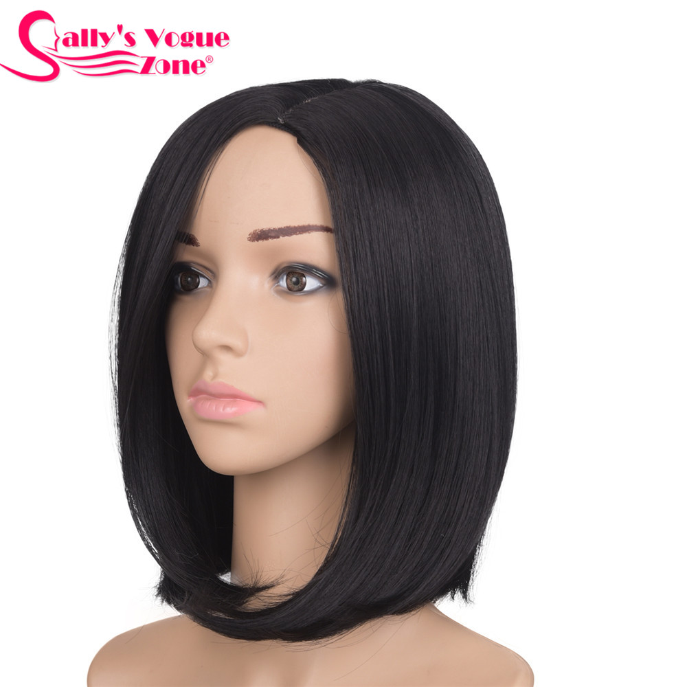 Sallyhair 12inch Japanese High Temperature Fiber Synthetic Centre Part Short Black Color Bob Wig For Women