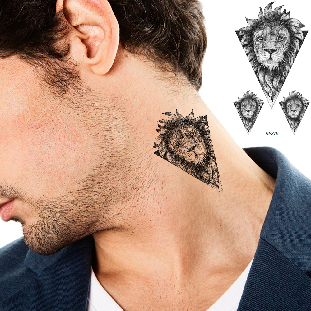 Small Geometric Africa Lion Animals Tribal Tattoos For Men Stickers Body Arm Art Temporary Tattoo Neck Ear Fake Tatoos For Women