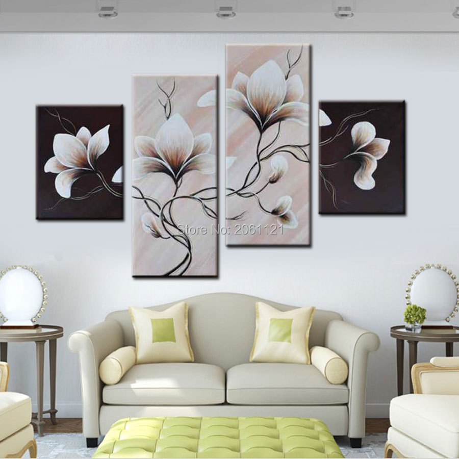 4 Panels Group Oil Painting On Canvas Flowers Black White Style Wall