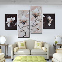 4 panels group oil painting on canvas flowers black white style wall paintings easy simple home decoration flower art
