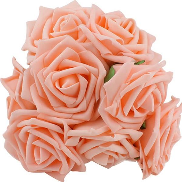 10Pcs 4 Colors Roses Artificial Rose Bouquet Flowers Head Wedding Bride Bouquet Home Office ...