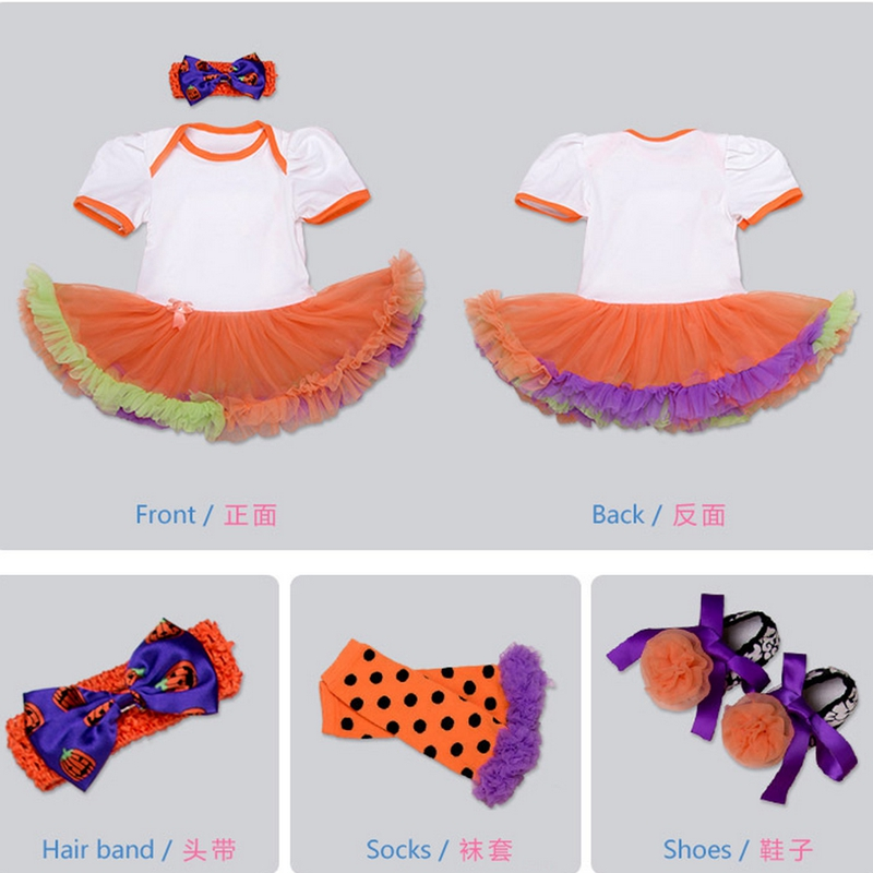 0-2year old The new Halloween short sleeved dress four pcs shoes+headband+sock+dress female baby jumpsuit clothing baby romper