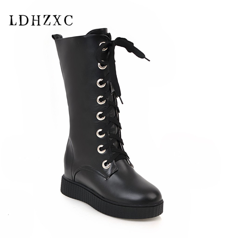 LDHZXC Women Boots Black Boots Women Lace Up Plain Mid Calf Boots Autumn Pointed Toe Chunky High Heels Boots Big Size 9 10 43 sorbern 17cm square chunky high heel mid calf boots lace up round toe women boots chunky platform boots plus size women autumn