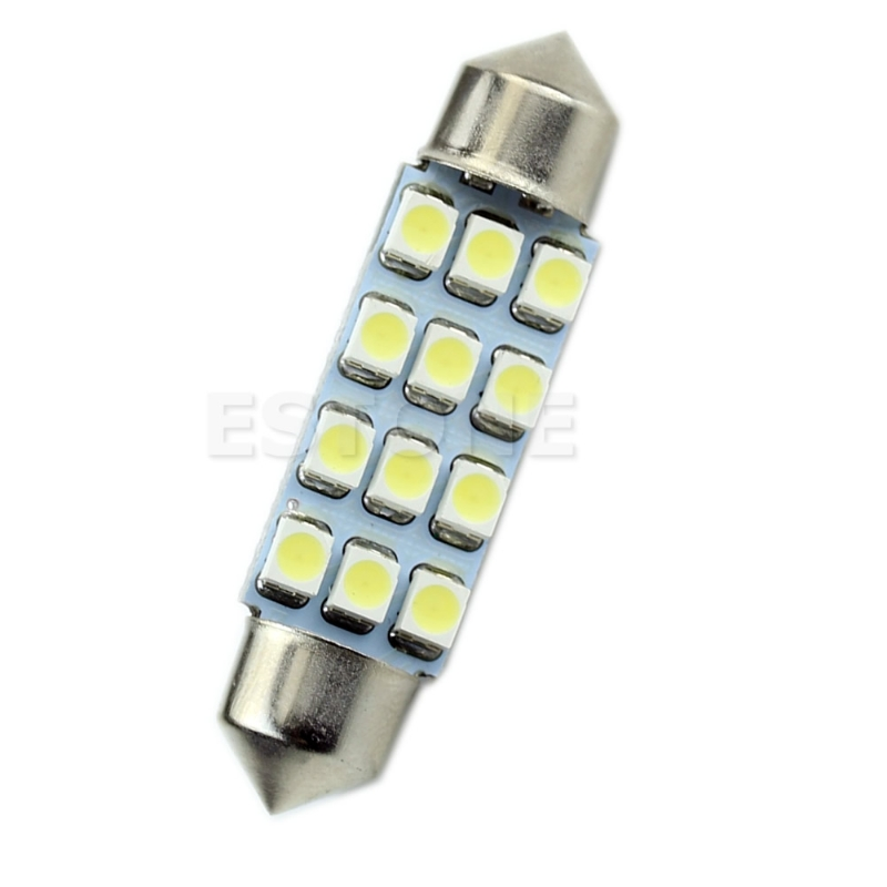 41mm <font><b>12</b></font> <font><b>SMD</b></font> 3528 LED Festoon Dome Car Interior Bulb Light Lamp White Drop Ship No22 image
