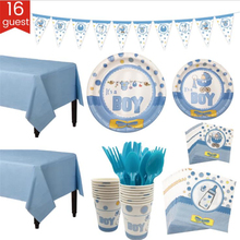 Omilut Baby Shower Boy Decoration For Boy/Girl Supplies Set Disposable Tableware Decor