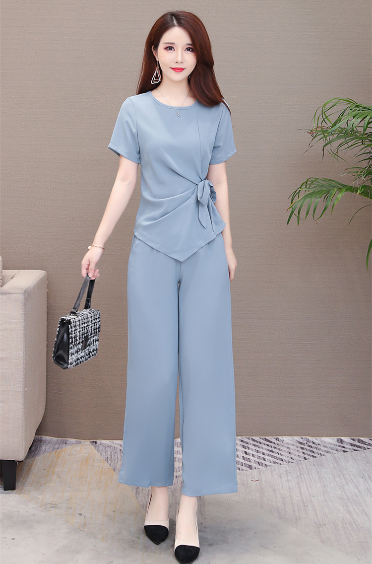 Summer Two Piece Sets Outfits Women Plus Size Lace-up Bow Tunics Tops And Pants Suits Korean Elegant Office 2 Piece Sets Blue 44