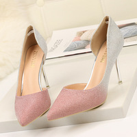 7c730967a4 2019 Spring Autumn Pumps Women Shoes PU Pointed Toe Thin Heels Sexy Gold  Gray Pink Purple. 2019 Primavera Outono Bombas Mulheres Sapatos ...