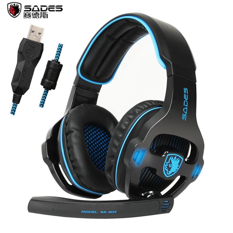 bilder für Sades SA903S Pro Gaming Kopfhörer Mit Mic Noise Cancelling USB 7.1 Surround Stereo Gaming Headset Kopfhörer für Laptop PC Gamer