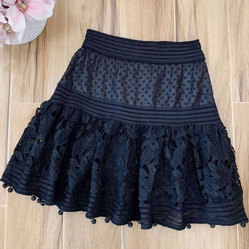 Red RoosaRosee 2019 Summer Runway Sexy Hollow Out Embroidery White Black Mini Cotton Skirts Women's Holiday Party Vacation Skirt-in Skirts from Women's Clothing    1