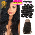 360 Lace Frontal Closure With Bundles Pre Plucked Lace Frontal Weave Body Wave 3 pcs Brazlian Virgin Hair With Frontal Closure