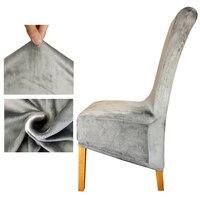 Tecido de veludo europa longo alto rei volta cadeira capa assento capas de cadeira restaurante festa do hotel banquete housse de chaise casa|chair cover|housse de chaise|de chaise -