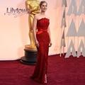 Rosamund Pik 2015 Oscar vestido rojo vestido de la sirena sin tirantes de Split encaje mejor vestida Celebrity Dresses moda vestido largo