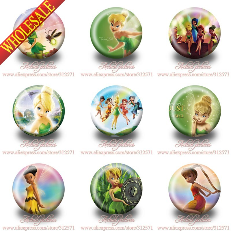 Hot selling,90pcs Tinker Bell cartoon badges Button Pin Round Brooch Badges,Bags Clothes Decoration,Kids Party Favor Gift christmas bell brooch