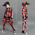 2016 Nova moda primavera Outono das crianças conjunto de roupas Trajes camisola Tira Flor Hip Hop harem pants crianças ternos do esporte