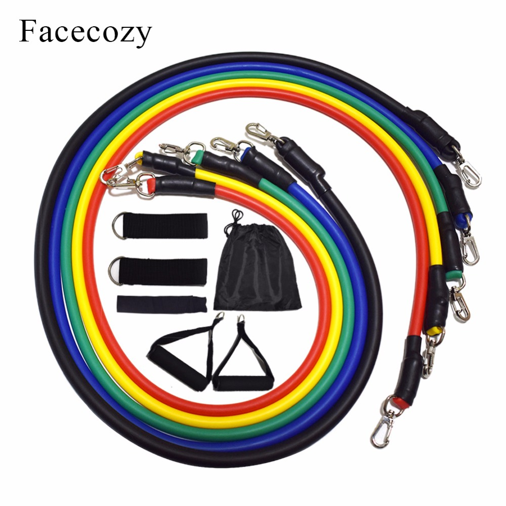 Facecozy 11Pcs/Set Resistance Bands Gym Exercise Fitness Elastic Pull Rope Pilates Workout Muscle Training Equipment