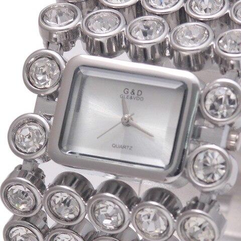 Relógios de Pulso Marca de Luxo de Prata Mulheres Quartz Senhora Pulseira Relógios Dress Ver Relojes Mujer Relógio Feminino Presente A134 g & d
