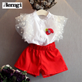 Kids Clothes 2017 Fashion Summer Baby Girls Flying sleeve Shirt fashion agaric design jacket +Red Shorts Children Clothing Sets