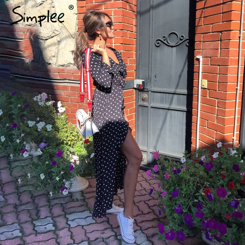 Simplee Autumn long sleeve polka dot ruffle wrap dress Women sexy v neck split maxi dress vestidos Summer beach black long dress 3
