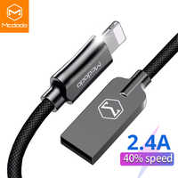 MCDODO Cable USB 2.4A para Cable de iPhone XS Max XR 8 7 6 6S Plus iPad mini para relámpago rápido cable de carga para teléfono móvil