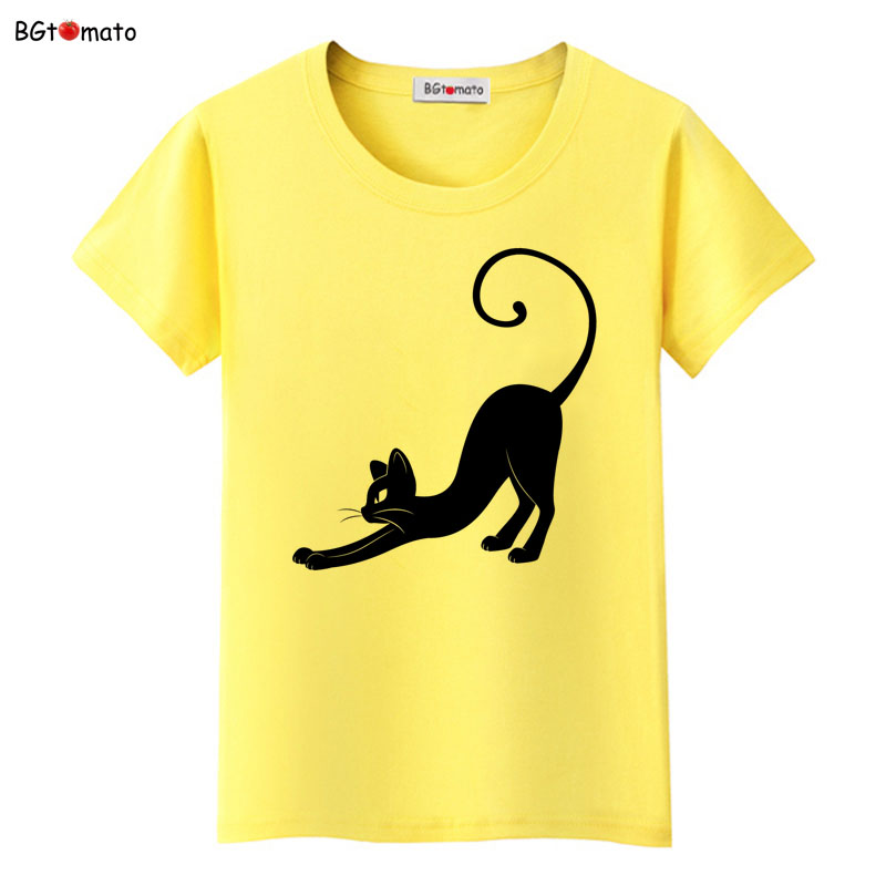 BGtomato Gentle and graceful black cat T-shirts for women summer cool trend tops Good quality brand tees casual shirts