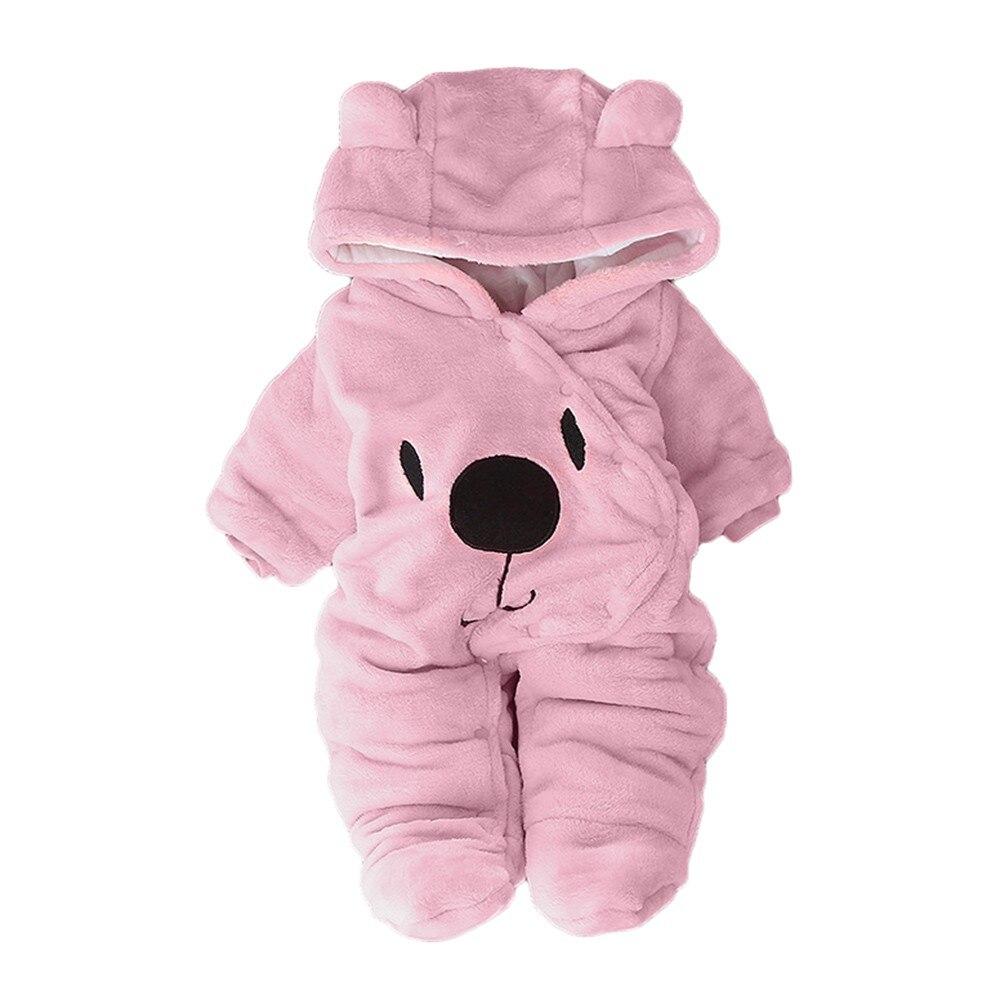 ARLONEET Newborn Baby Plush And Velvet Warm Romper Girl Boy Solid Cartoon Bear Velvet Hooded Jumpsuit Romper Clothes G0719