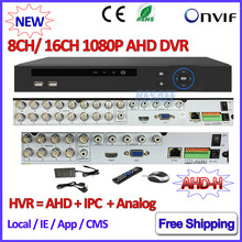 1080 P Гибридный AHD DVR 16CH для AHD Hm 960 H D1 H.264 камера 8 Канальный DVR рекордер P2P NVR IP для 3-МЕГАПИКСЕЛЬНАЯ ONVIF 2.4 IP Сети камера