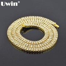 Uwin хип-хоп кристалл Стразы Bling кубинский Цепочки и ожерелья мужчин 9 мм 2 ряда Теннис цепь золотая серебристый, черный 3 Длина Размеры ювелирные изделия