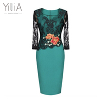 Yilia Lace Embroidery See Through Floral 3 Quarter Sleeve Party Occasion Bridemaid Mother Wear Plus Size