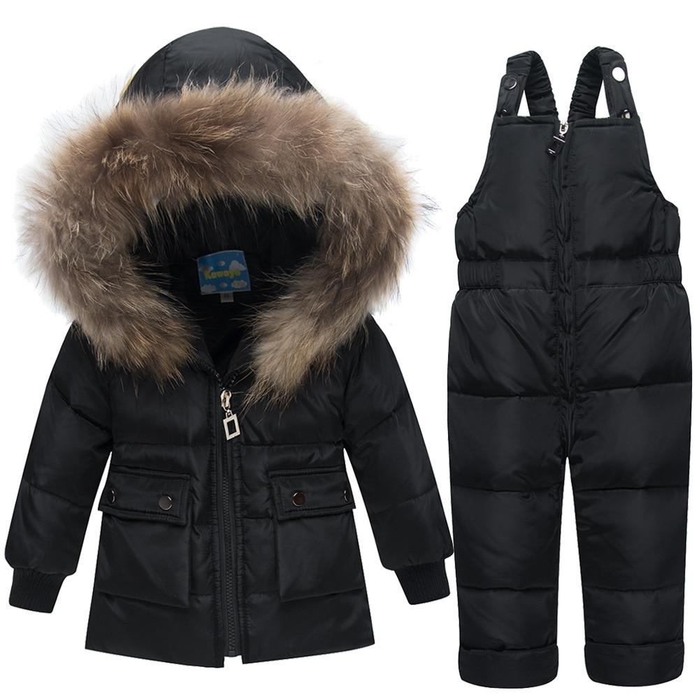 цена на 2018 New Winter Children Snowsuit Clothing Set White Duck Down Jacket+Jumpsuit Sets Suits for Girls Kids Ski Suit Boys Overalls