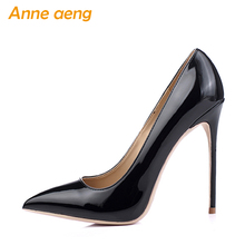 цена на 12cm High thin Heels Women Pumps Sexy Office Lady Women Wedding Shoes Pointed Toe Classic Black Red shoes women Big Size 34-46