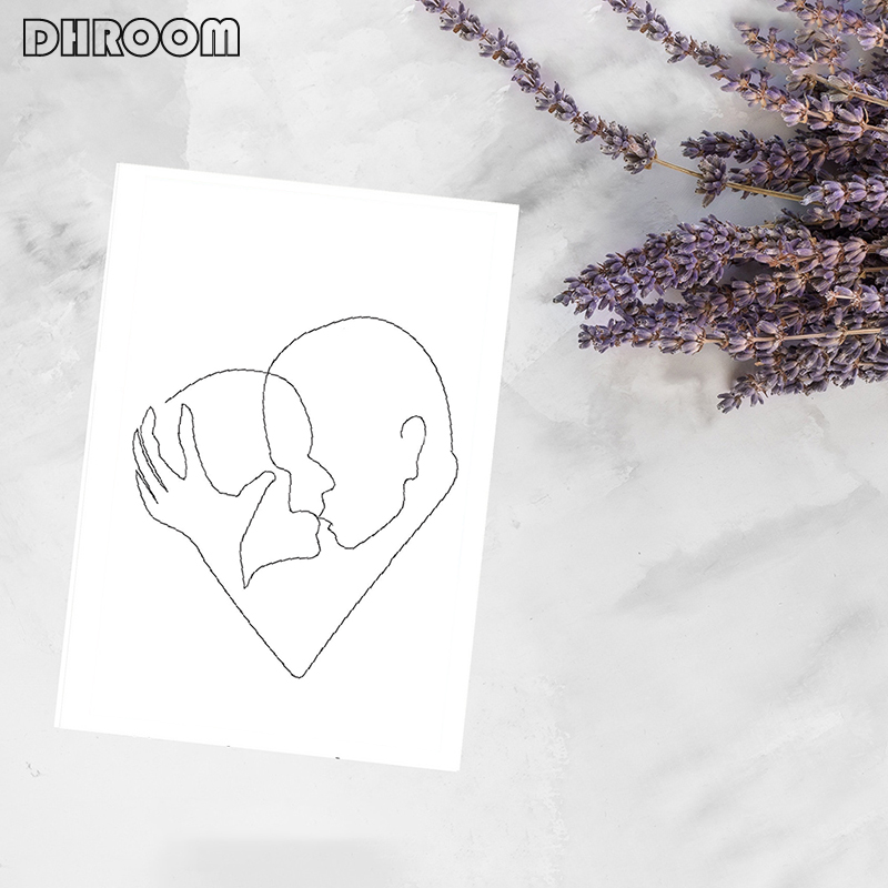 Minimalist Kissing Wall Art Couple Kiss Poster Prints One Line Drawing Canvas Painting Love Definition Wall Poster Bedroom Art