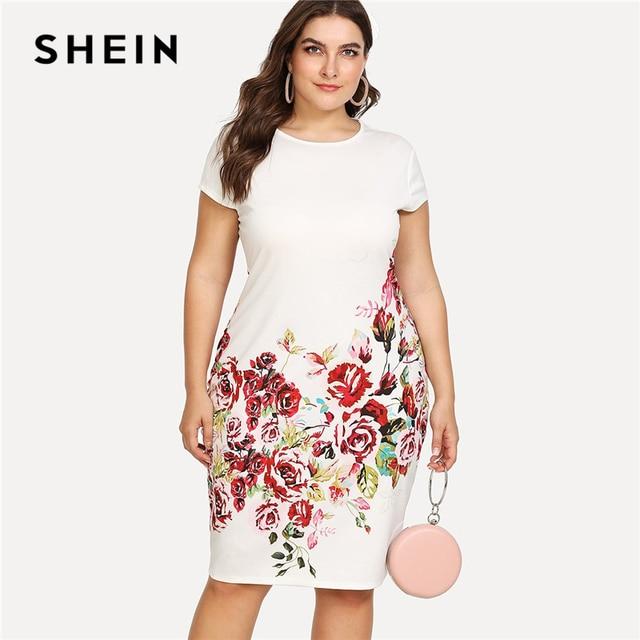 61ca9ba7f60 SHEIN Floral Print Pencil Dress 2018 Summer Round Neck Short Cap Sleeve Dress  Women White Plus Size Elegant Dress