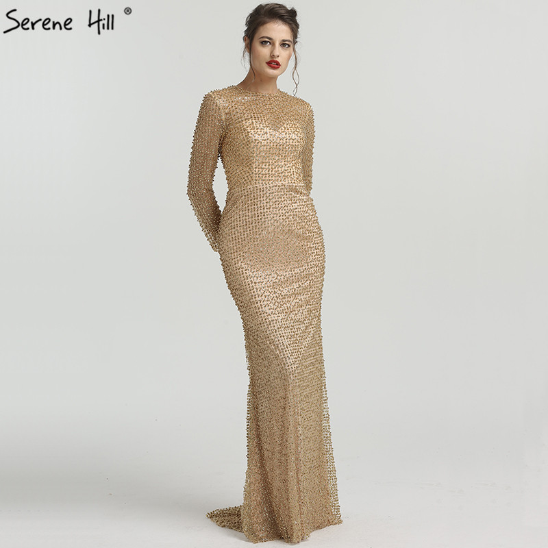 Long Sleeves Elegant Fashion Luxury Evening Dresses Beading Pearls Mermaid  High-end Sexy Evening Gowns. Mouse over to zoom in bb121f11d475