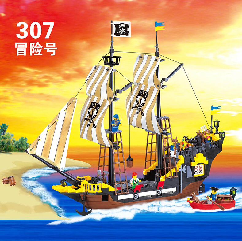 Enlighten Pirate Ship Corsair Adventure Building Block Sets Educational Construction Bricks Toys for Children  Compatible