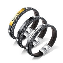 Stainless Steel Personalized Leather Bracelets & Bangles for Men DIY Jewelry Double Layer Bracelets Male Jewelry Gift (BA102286)(China)