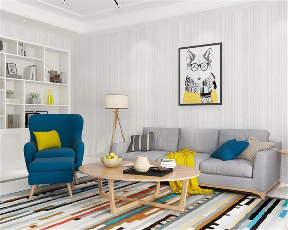 Beibehang Wallpaper modern solid color vertical stripes beige wall ...