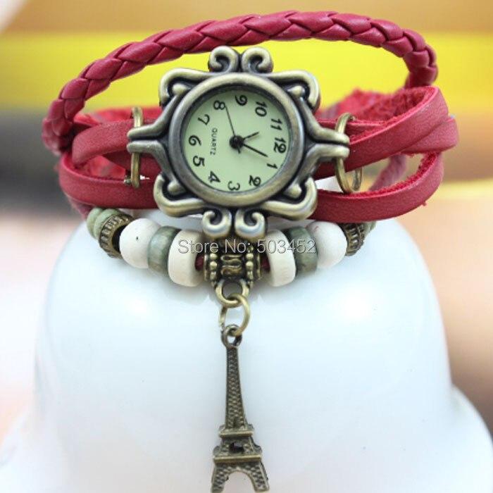Eiffel Tower Pendant Retro Watch Vintage Ladies Watch Fashion Genuine Leather Bracelet Watch100pcs lot 7 Colors