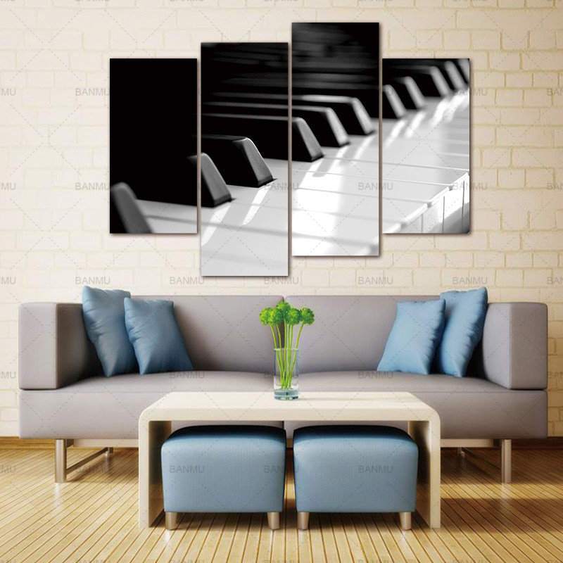 ⊰Wall Art Pictures canvas painting prints on Black and White Piano ...
