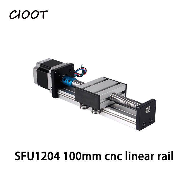 Linear Slide Stage cnc linear guide rail Linear Actuator System Module Table Travel Length 100mm+NEMA 17 Stepper motor stepper motor t type wire rod linear guide rail electric slide rail automatic rail control module table stock