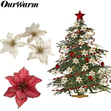 OurWarm 10pcs Glitter Artificial Christmas Flowers 15cm Red and Gold Tree Pendant Ornament New Year Decor for Home