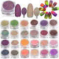 42pcs/sets 1g 3D Pigments Sequins Sugar Designs Nail Art Mixed Colors Glitter Powder Dust Nail Glitter Sparkly Tips #500-542