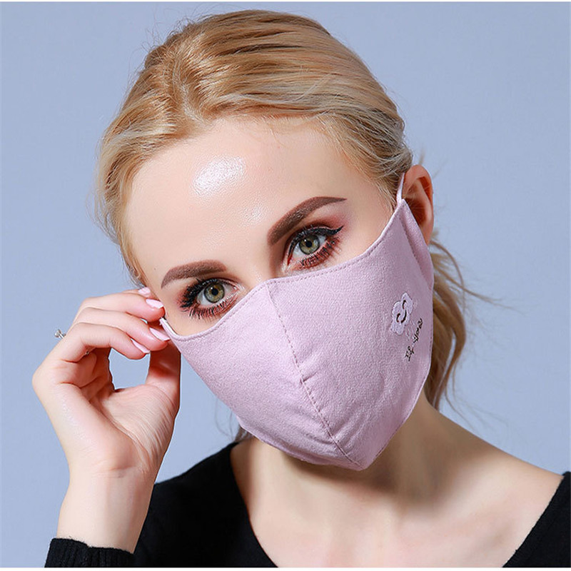 10pcs/Bags Korean Version Of The Winter Dust Mask Dust Masks Women Warm Three-dimensional Cotton Embroidery Breathable Masks