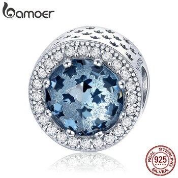 BAMOER 100% 925 Ayar Gümüş Köpüklü Yıldız Açacağı Mavi CZ Boncuk fit Kadınlar Charm Bilezik ve Kolye Takı Yapımı için SCC730