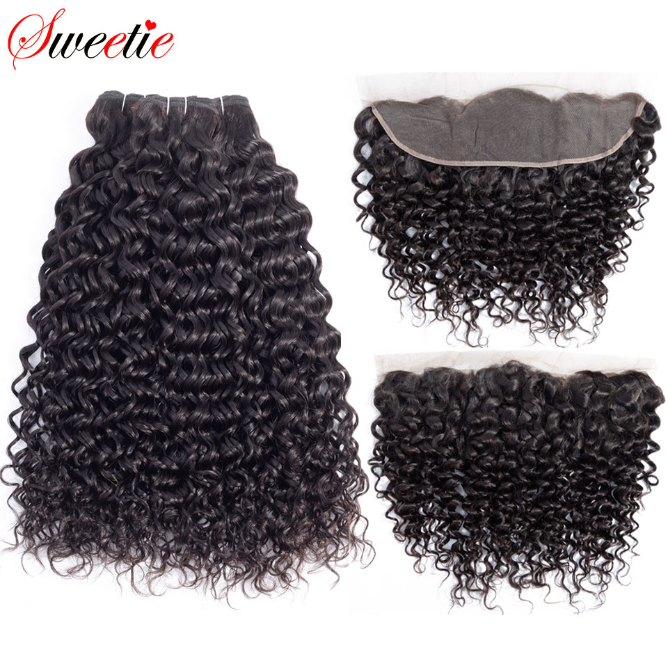 Sweetie Water Wave Bundles With Frontal Closure Brazilian Human Hair Weave 3 Bundles Non Remy Lace