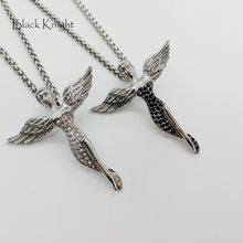 Black Knight full crystals Wings Angel pendant necklace Silver color stainless steel Wing beauty angel necklace fashion BLKN0691 angel wings rhinestone teardrop necklace