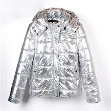 Зимний пуховик, Женское пальто, серебристый металл, Женская парка, mujer, модное зимнее теплое пальто, Dames Abrigos Mujer Invierno